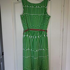 Trina Turn Green Geometric Dress w/Belt